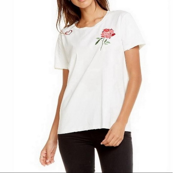 Chaser Rosey Love embroidered distressed tee M